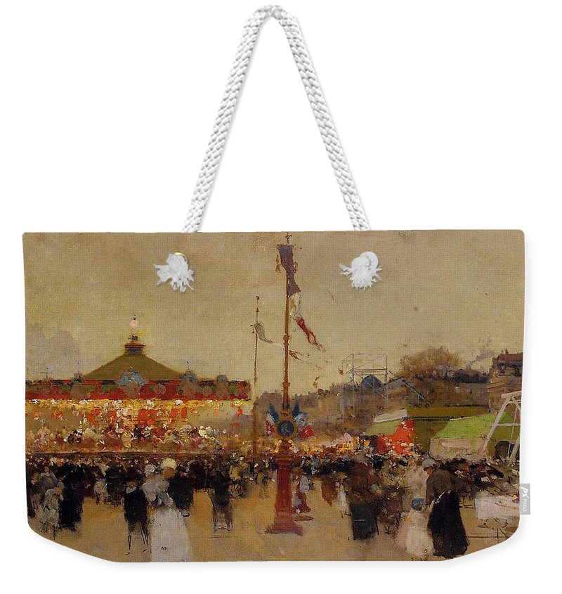 At The Fair (oil On Canvas) By Luigi Loir (1845-1916) Fair; Fairground; Fete; Carousel; Merry-go-round; Figures; Crowd; Crowds; France; French; Flag; Flags; Tricolour; Impressionist; Impressionism; Attraction Weekender Tote Bag featuring the painting At The Fair by Luigi Loir