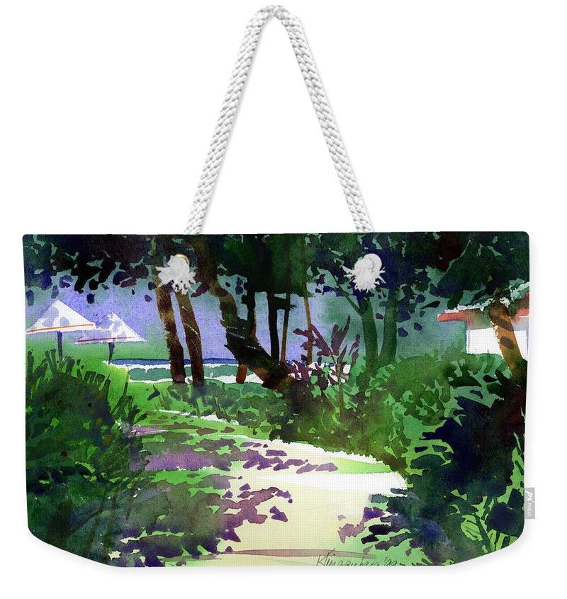 Beach Path Weekender Tote Bag featuring the painting At The Hale Koa by Lee Klingenberg