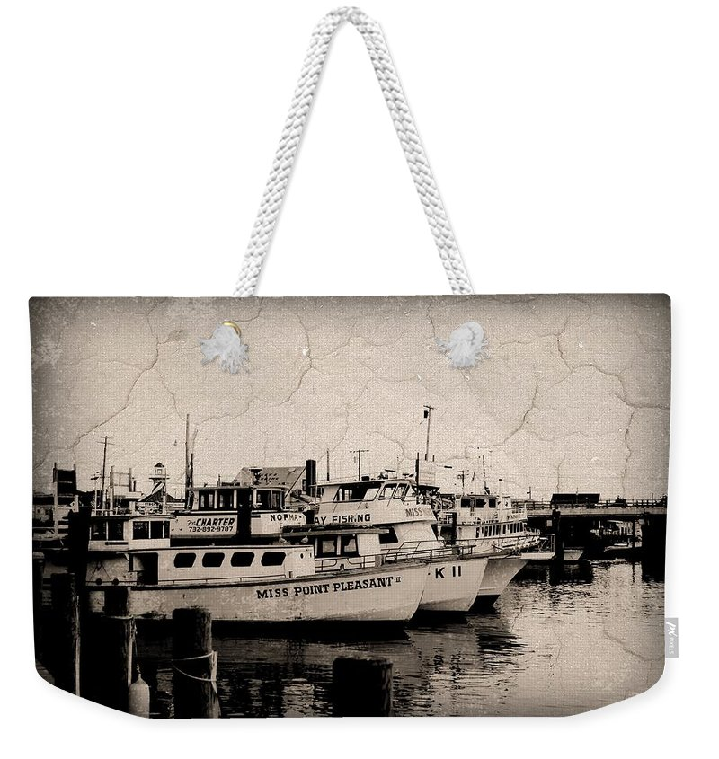 Jersey Shore Weekender Tote Bag featuring the photograph At The Marina - Jersey Shore by Angie Tirado