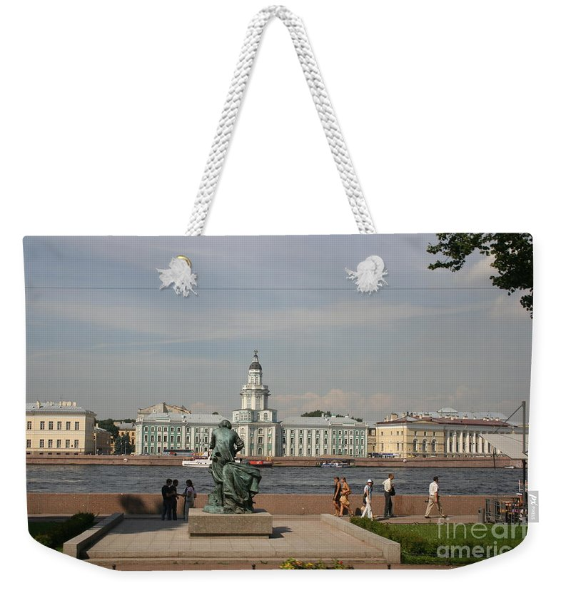 River Weekender Tote Bag featuring the photograph At The Newa - St. Petersburg Russia by Christiane Schulze Art And Photography