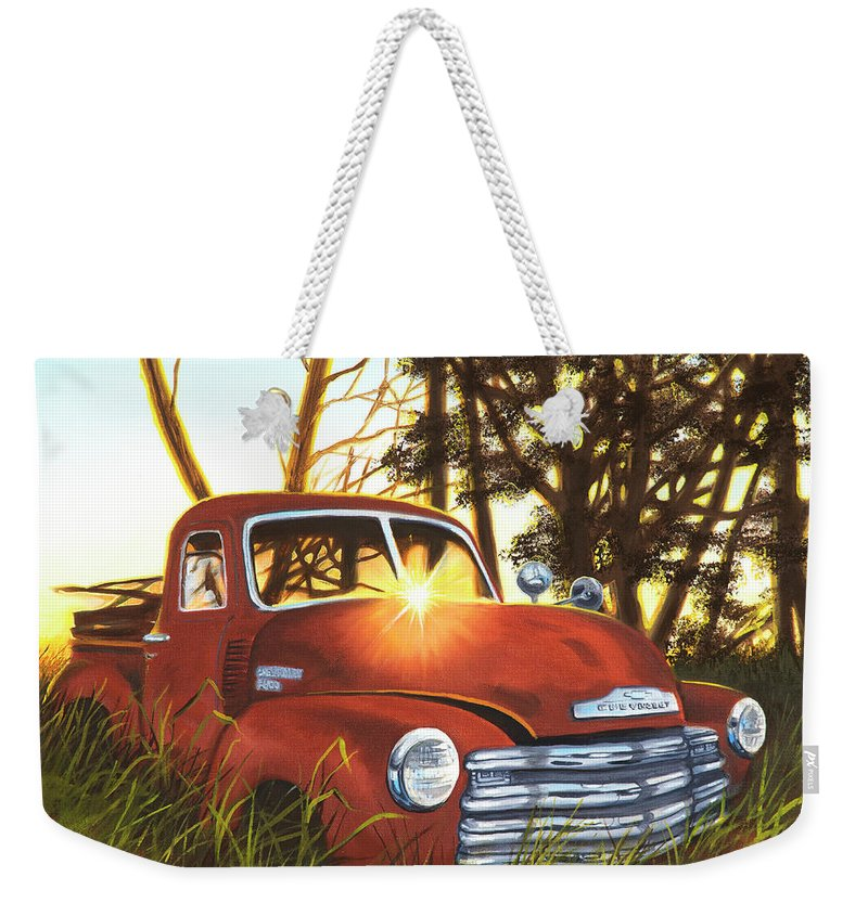 Truck Weekender Tote Bag featuring the painting At The Old Homestead by Jerry McElroy