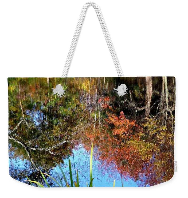 Reflection Weekender Tote Bag featuring the photograph At The Pond by Charles Ford