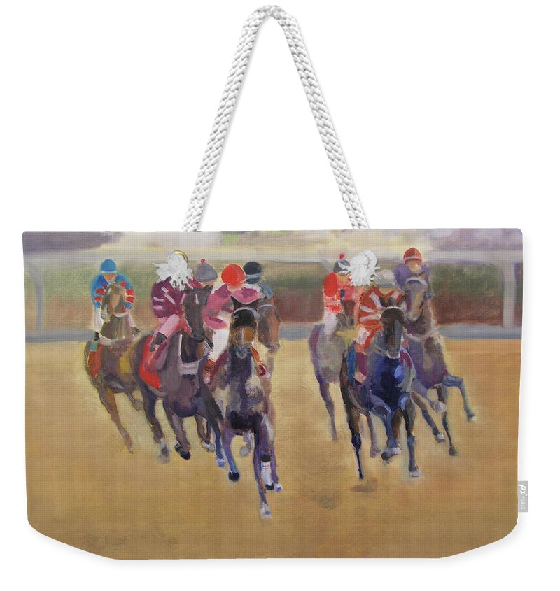 Horses Weekender Tote Bag featuring the painting At The Races by Gail Eisenfeld