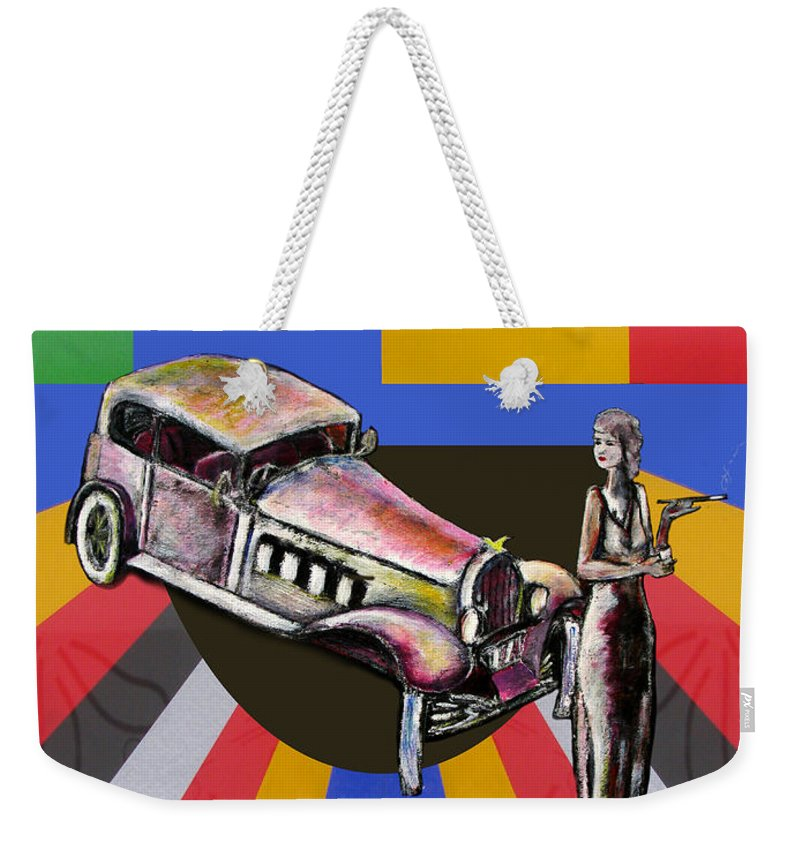Vintage Weekender Tote Bag featuring the painting At The Rendezvous 1 by Tom Conway