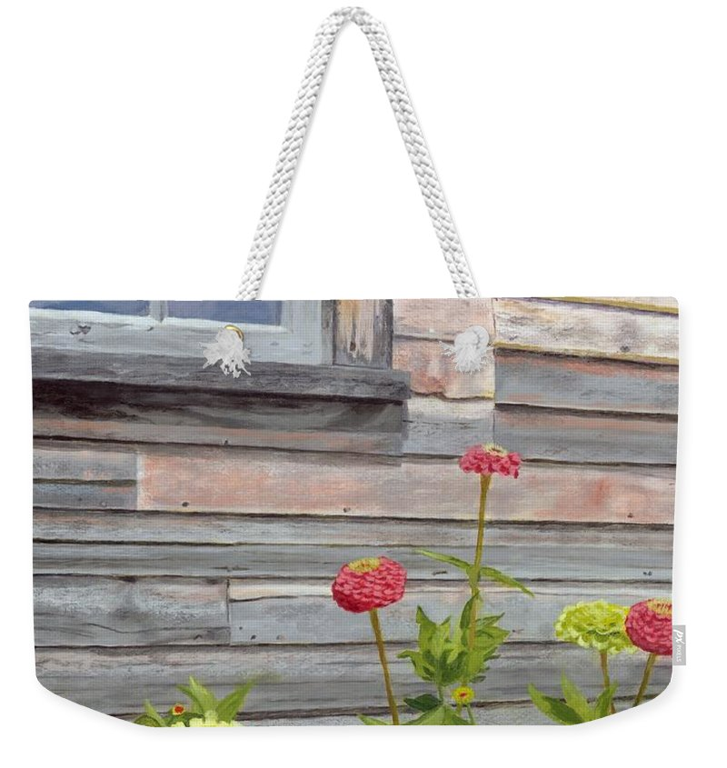 Weathered Wood Weekender Tote Bag featuring the painting At The Shelburne by Lynne Reichhart