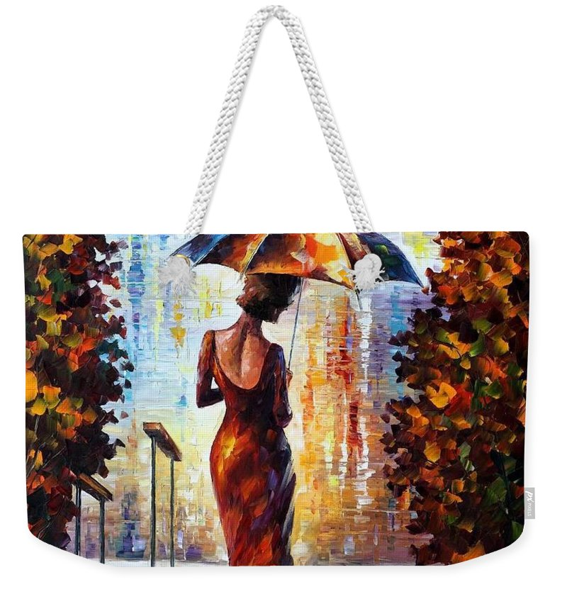 Afremov Weekender Tote Bag featuring the painting At The Steps by Leonid Afremov