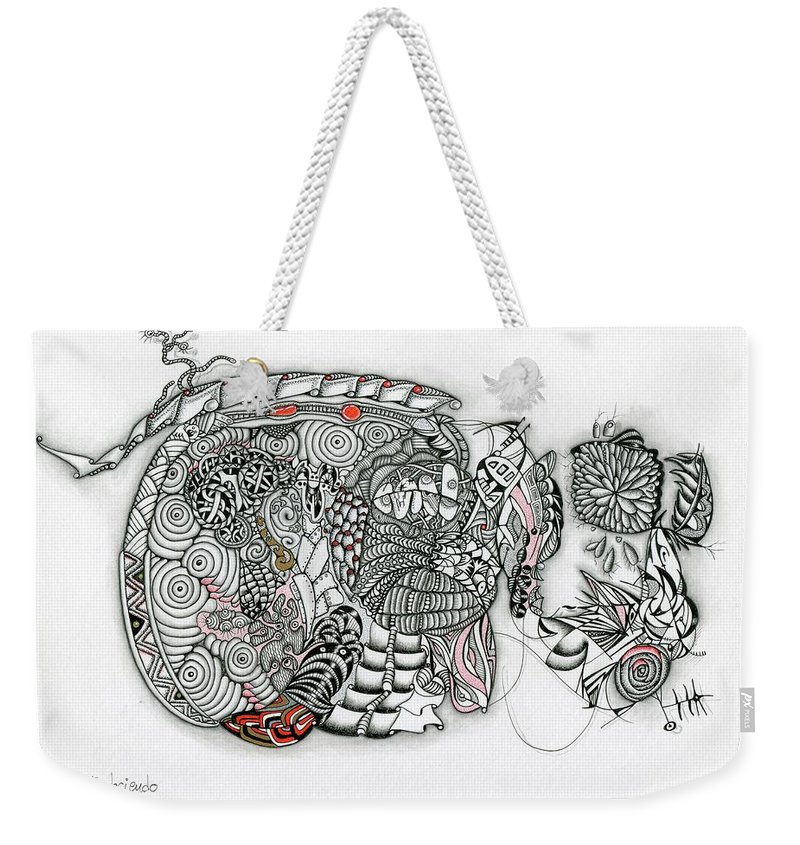 Surreal Weekender Tote Bag featuring the drawing Atardeciendo - Evening by Carlos Cano - Grindilu
