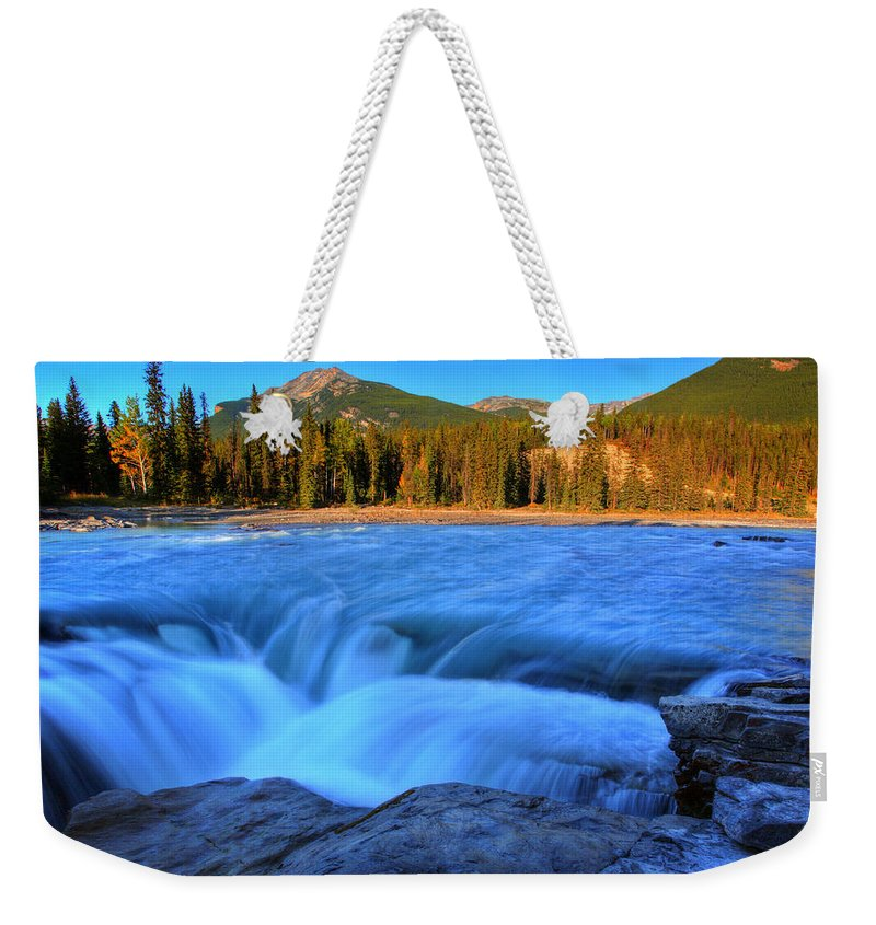 Athabasca River Weekender Tote Bag featuring the digital art Athabasca Falls In Jasper National Park by Mark Duffy