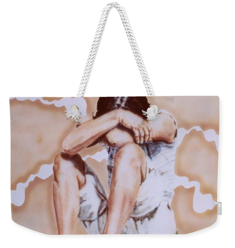 Portrait Weekender Tote Bag featuring the painting Athabaskan Girl On A Rock by Ron Bissett