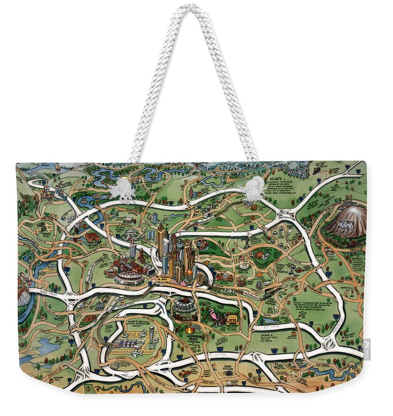 Atlanta Weekender Tote Bag featuring the painting Atlanta Cartoon Map by Kevin Middleton