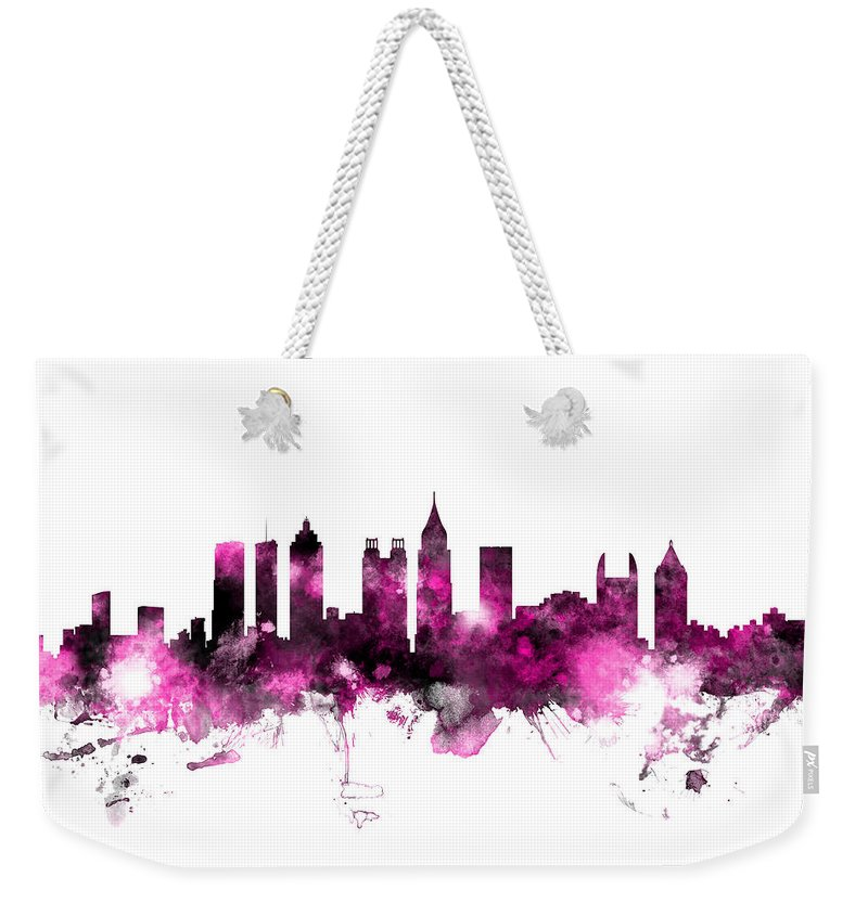 United States Weekender Tote Bag featuring the digital art Atlanta Georgia Skyline Pink by Michael Tompsett