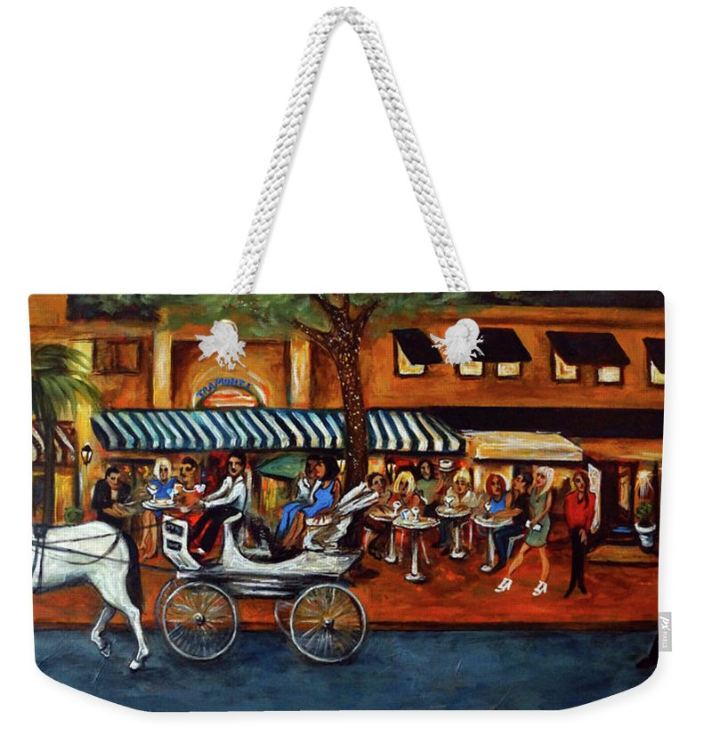 Horse & Buggy Weekender Tote Bag featuring the painting Atlantic Avenue by Valerie Vescovi