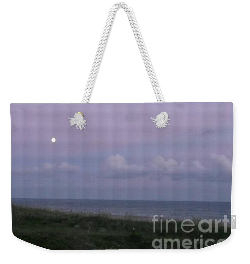 Beach Weekender Tote Bag featuring the photograph Atlantic Beach Nc Moonlilght by Barb Montanye Meseroll