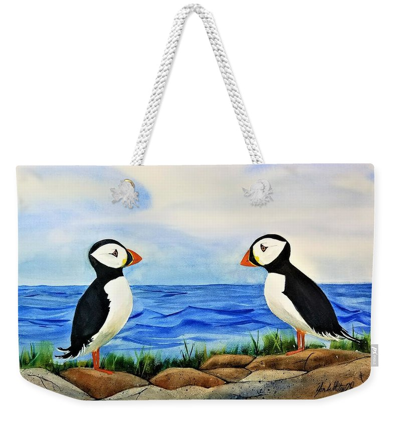 Watercolor Painting Weekender Tote Bag featuring the painting Atlantic Puffins by Don Whitesel