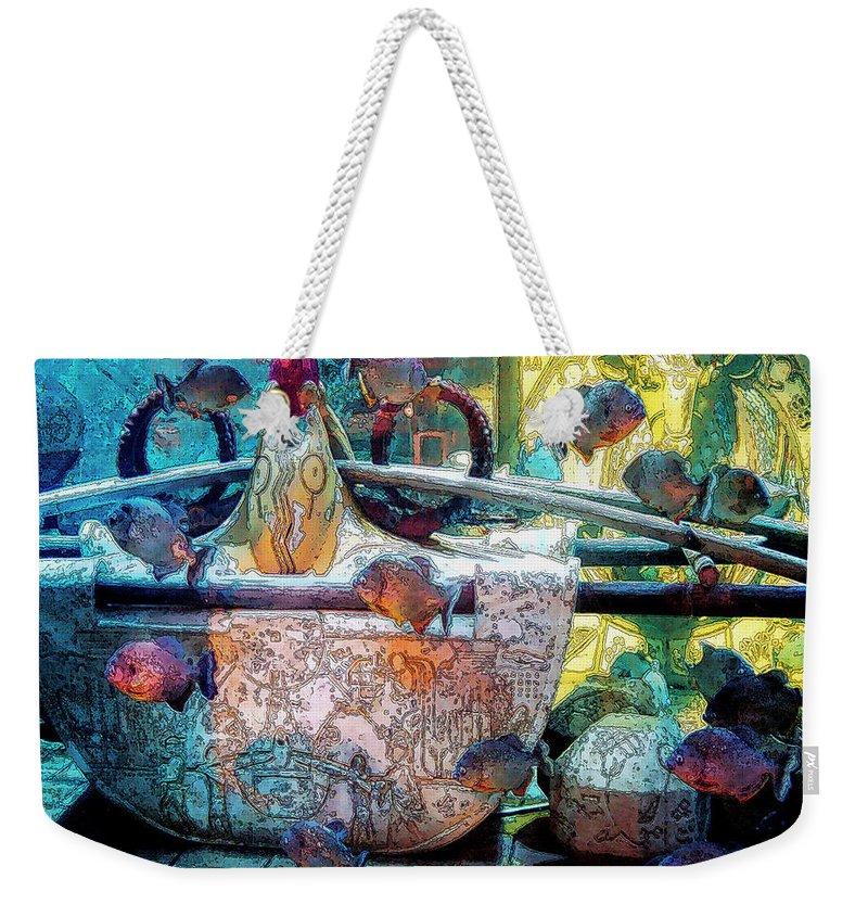 Bahamas Weekender Tote Bag featuring the digital art Atlantis Aquarium In Watercolor by DigiArt Diaries by Vicky B Fuller