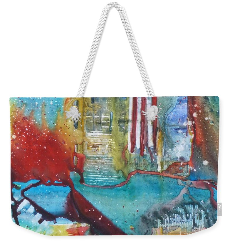 Abstract Weekender Tote Bag featuring the painting Atlantis Crashing Into The Sea by Ruth Kamenev