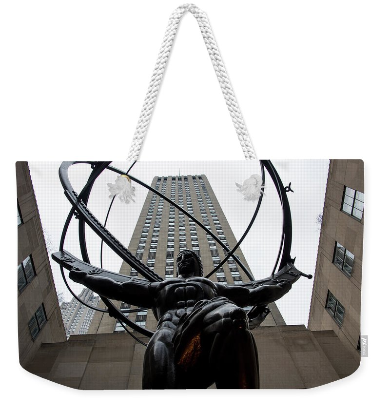 Sculpture Weekender Tote Bag featuring the photograph Atlas New York City by Don Gronczewski