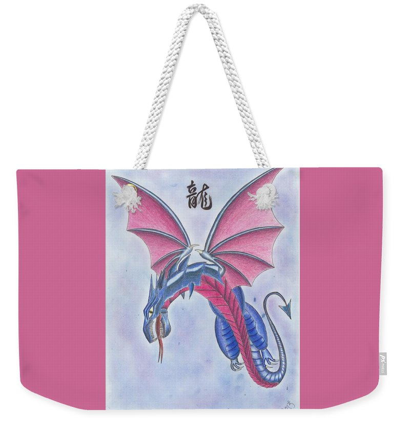 Dragon Weekender Tote Bag featuring the drawing Attack Of The Dragon by Michael E Kelly