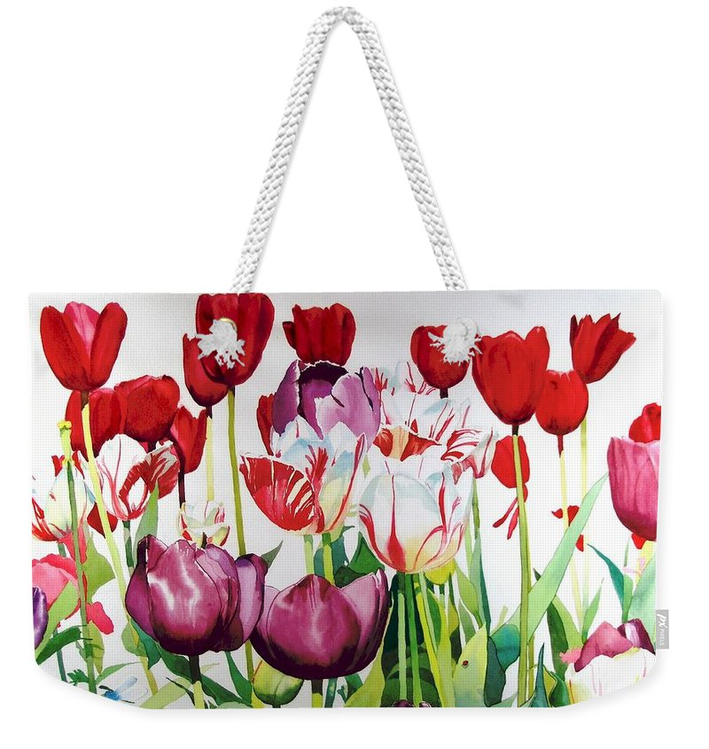 Tulips Weekender Tote Bag featuring the painting Attention by Elizabeth Carr
