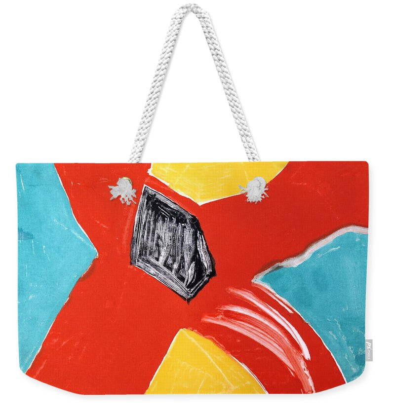 Abstract Weekender Tote Bag featuring the mixed media Au Secours by Bonnie See