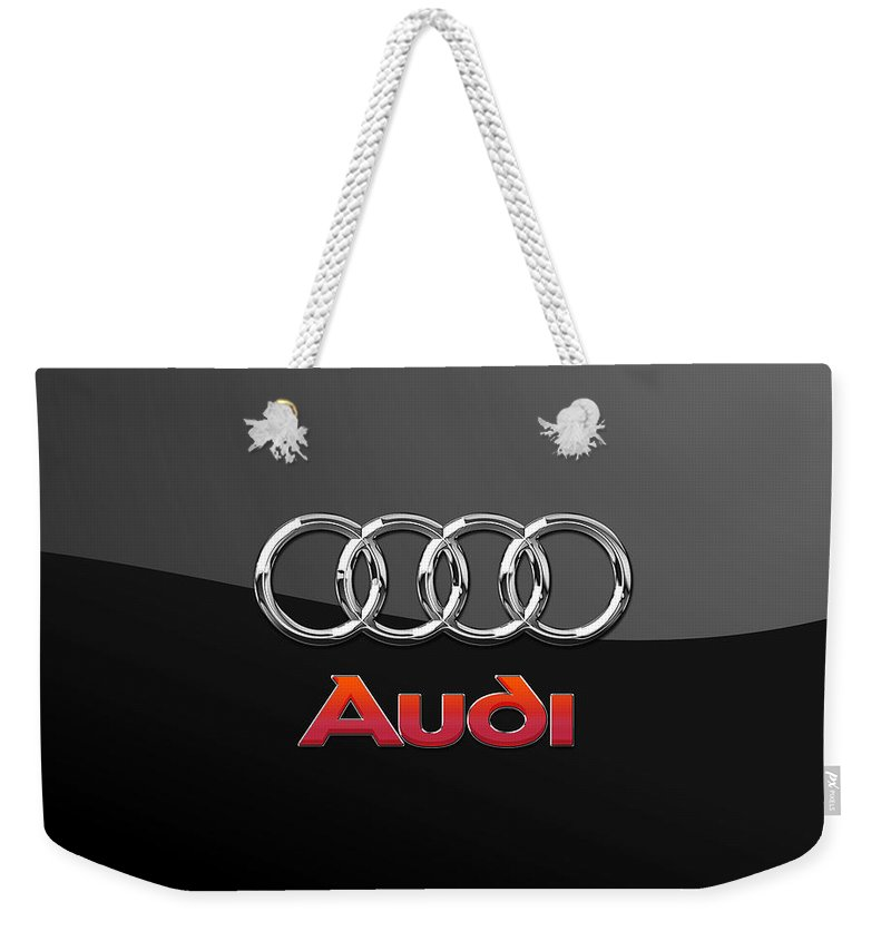 'wheels Of Fortune' Collection By Serge Averbukh Weekender Tote Bag featuring the photograph Audi 3 D Badge on Black by Serge Averbukh