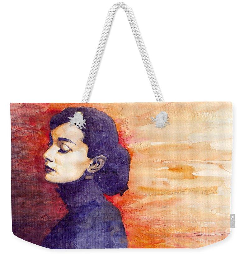 Watercolour Weekender Tote Bag featuring the painting Audrey Hepburn 1 by Yuriy Shevchuk