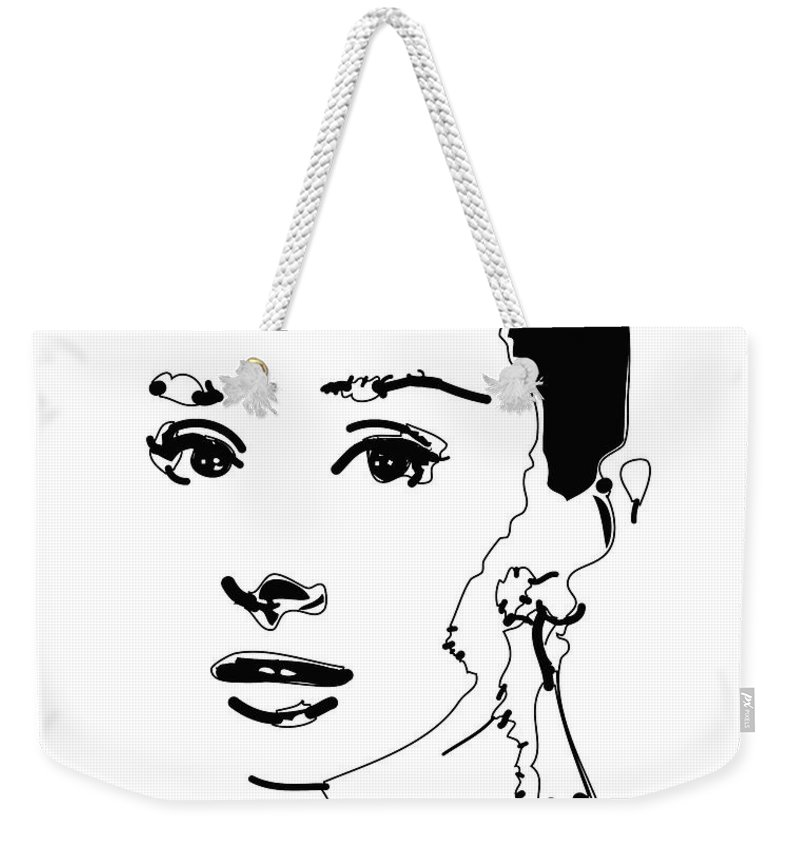 Actress Weekender Tote Bag featuring the digital art Audrey Hepburn by Rabi Khan