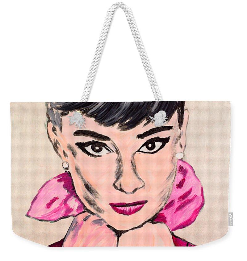 Portrait Weekender Tote Bag featuring the painting Audrey Hepburn by Valerie Ornstein