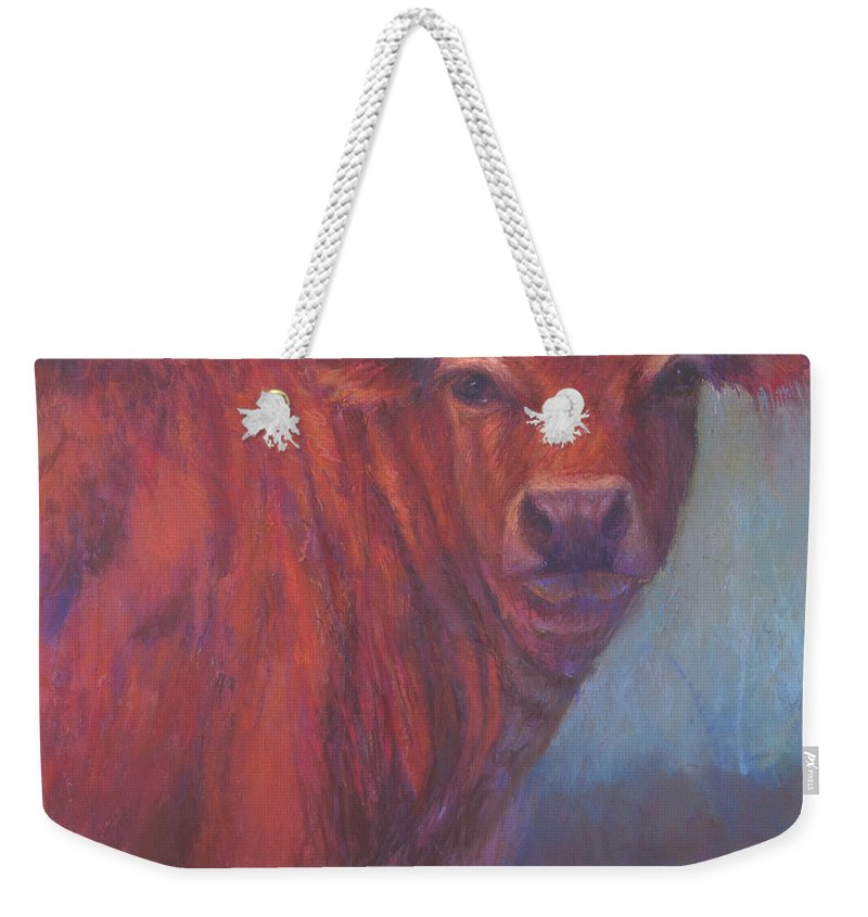 Cows Weekender Tote Bag featuring the painting Audrey by Susan Williamson