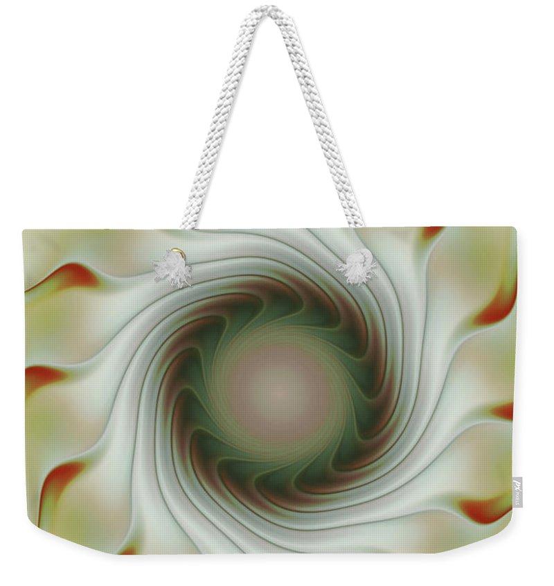 Fractal Art Weekender Tote Bag featuring the digital art Auger Wheel Spin by Deborah Benoit