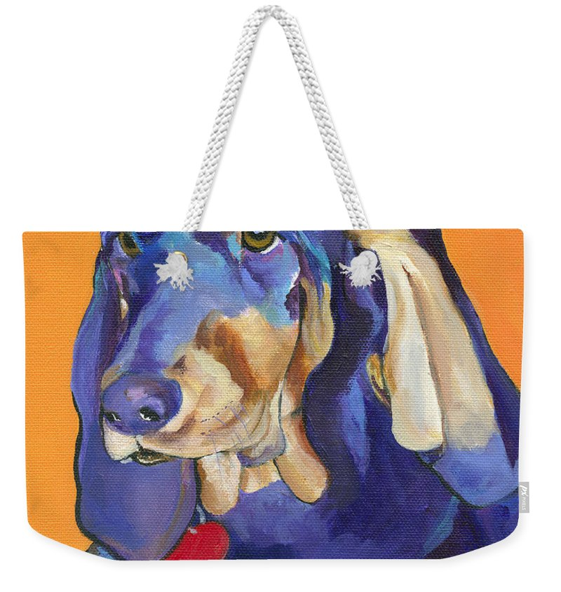 Bloodhound Weekender Tote Bag featuring the painting Augie by Pat Saunders-White