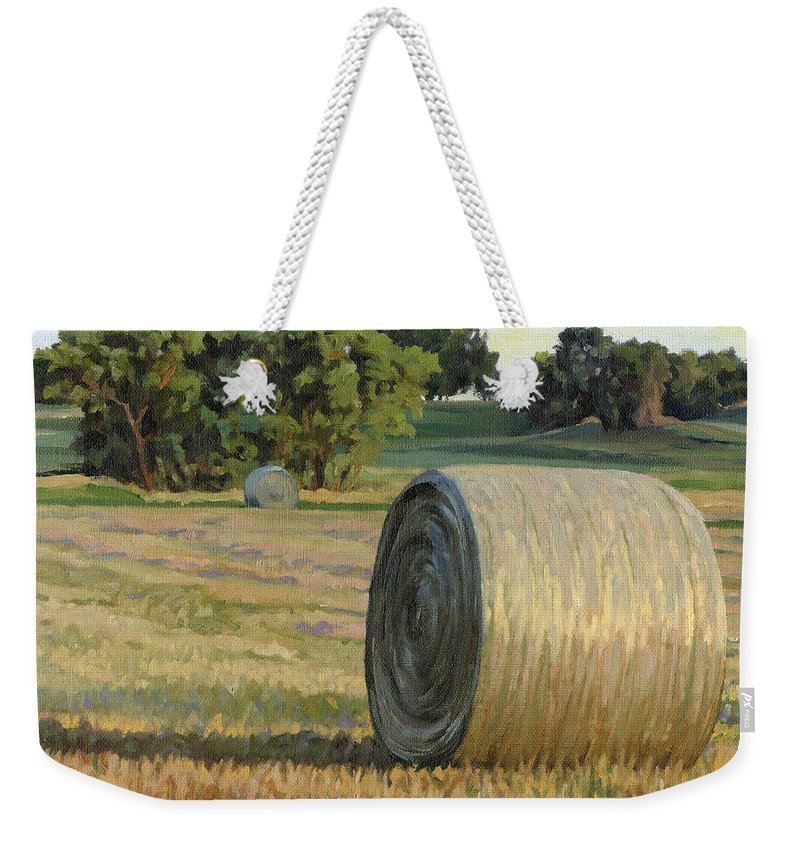 Landscape Weekender Tote Bag featuring the painting August Bales by Bruce Morrison