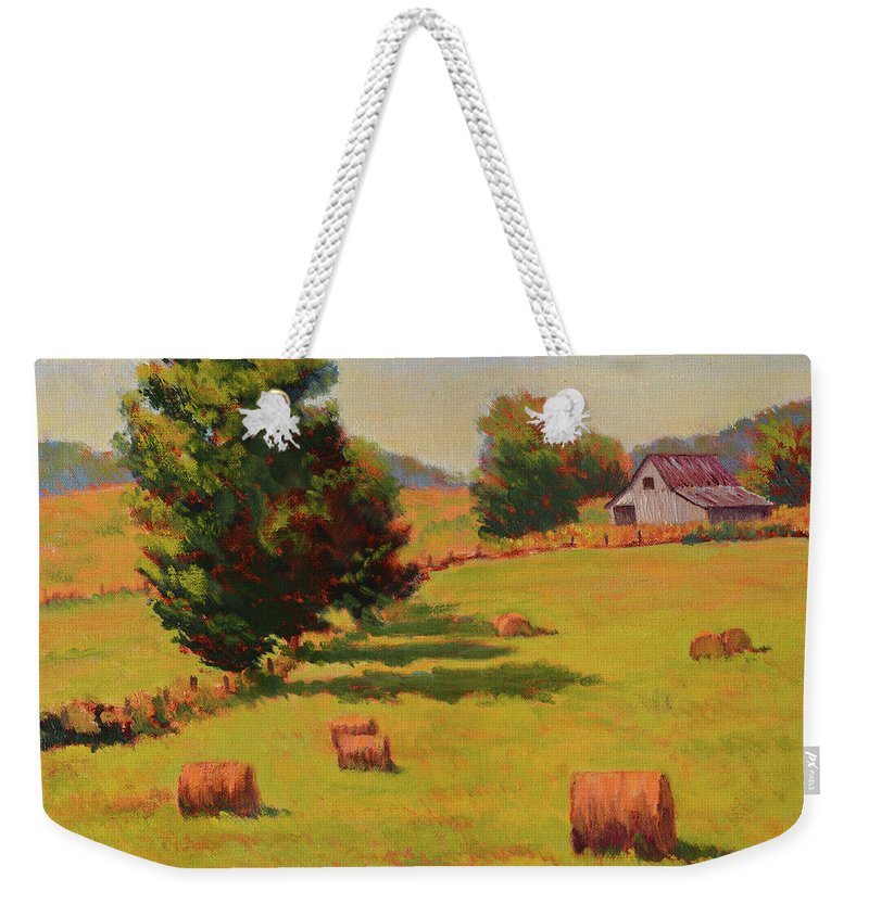 Impressionism Weekender Tote Bag featuring the painting August Hay Field by Keith Burgess