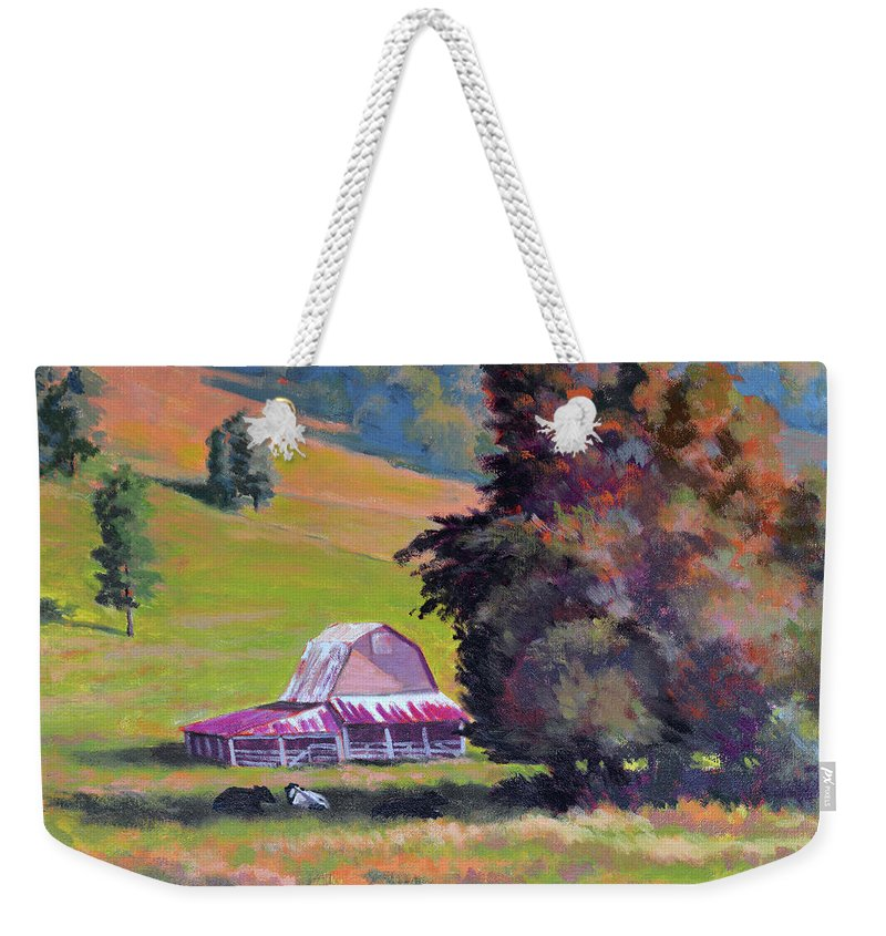 Impressionism Weekender Tote Bag featuring the painting August Pastures by Keith Burgess
