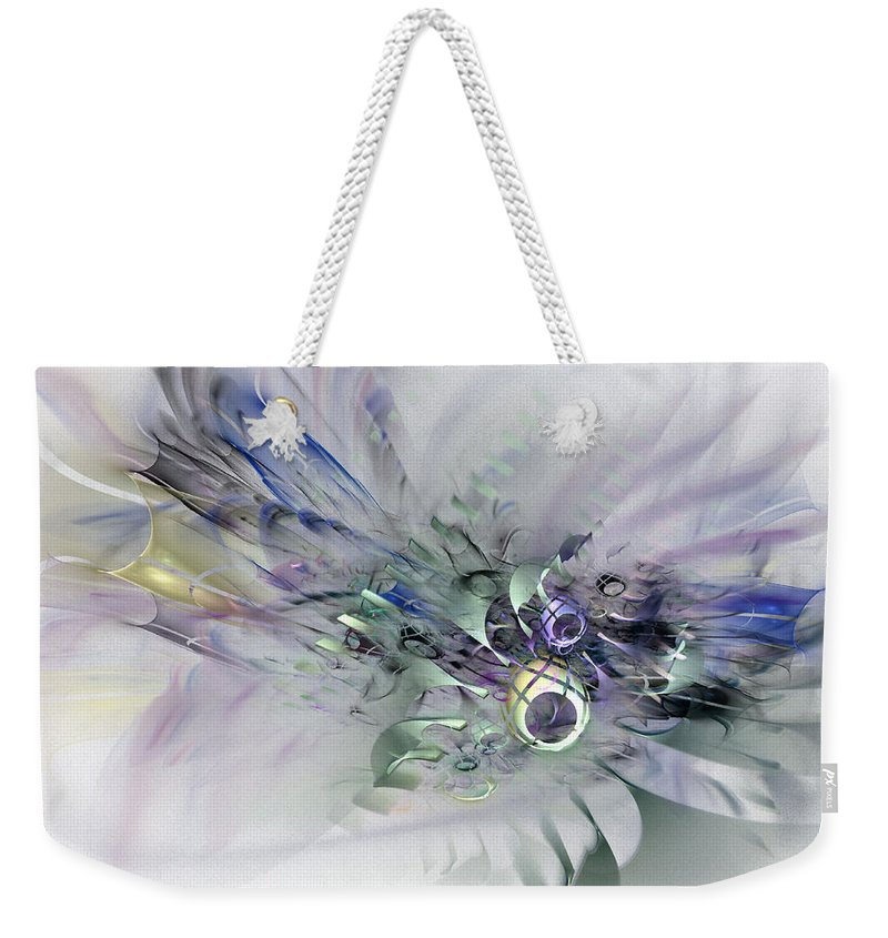 Contemporary Abstract Art Weekender Tote Bag featuring the digital art August Silk - Fractal Art by NirvanaBlues