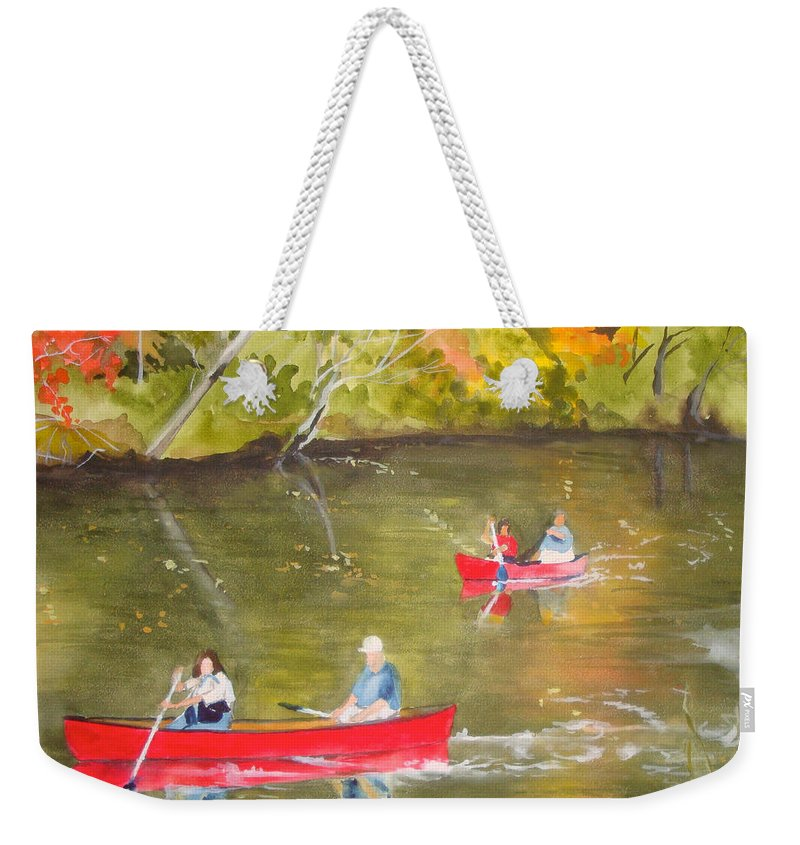 Canal Weekender Tote Bag featuring the painting Augusta Canal Number One by Jean Blackmer