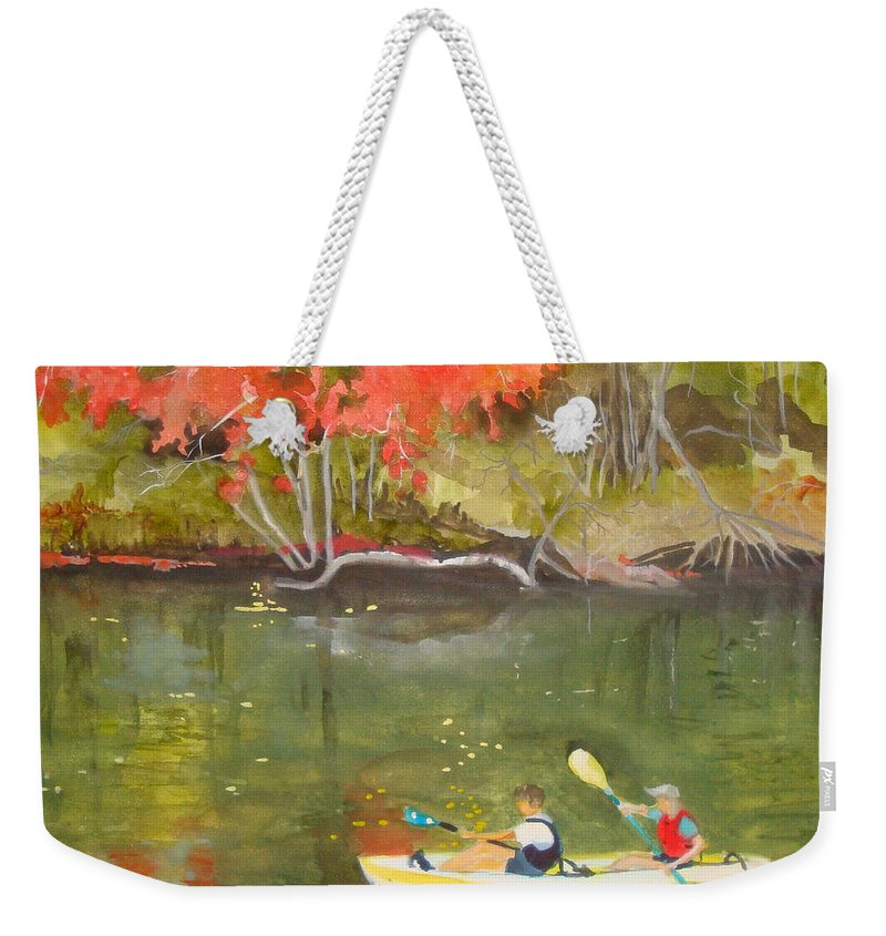 Water Weekender Tote Bag featuring the painting Augusta Canal Number Two by Jean Blackmer