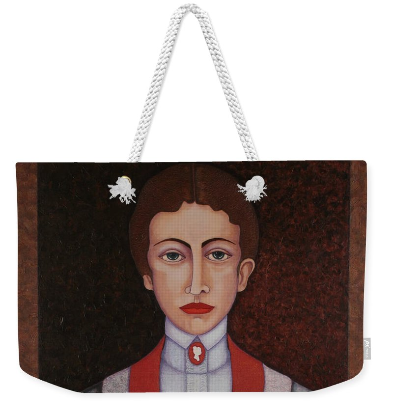 Aurelia De Sousa Weekender Tote Bag featuring the painting Aurelia De Sousa - The Narrative Of The Silent House by Madalena Lobao-Tello