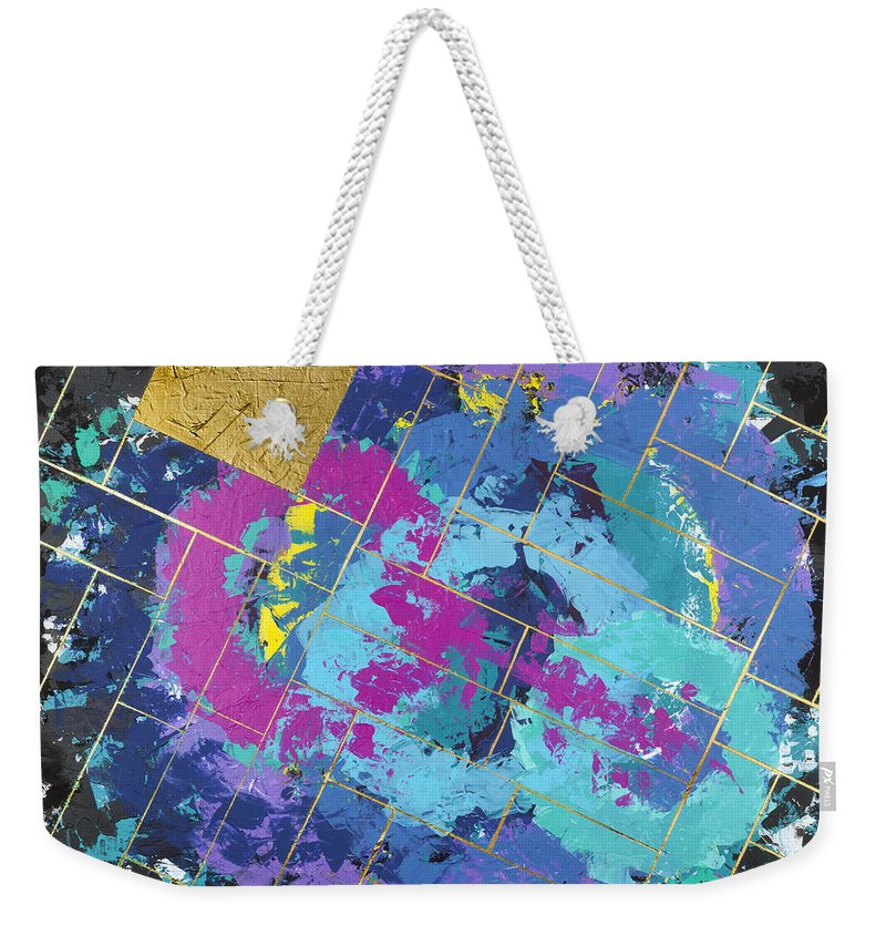 Abstract Weekender Tote Bag featuring the painting Auric Squared by Robin Winningham