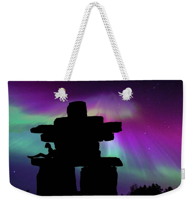Aurora Weekender Tote Bag featuring the photograph Aurora Borealis - Inukshuk - Northern Lights by Andrea Kollo