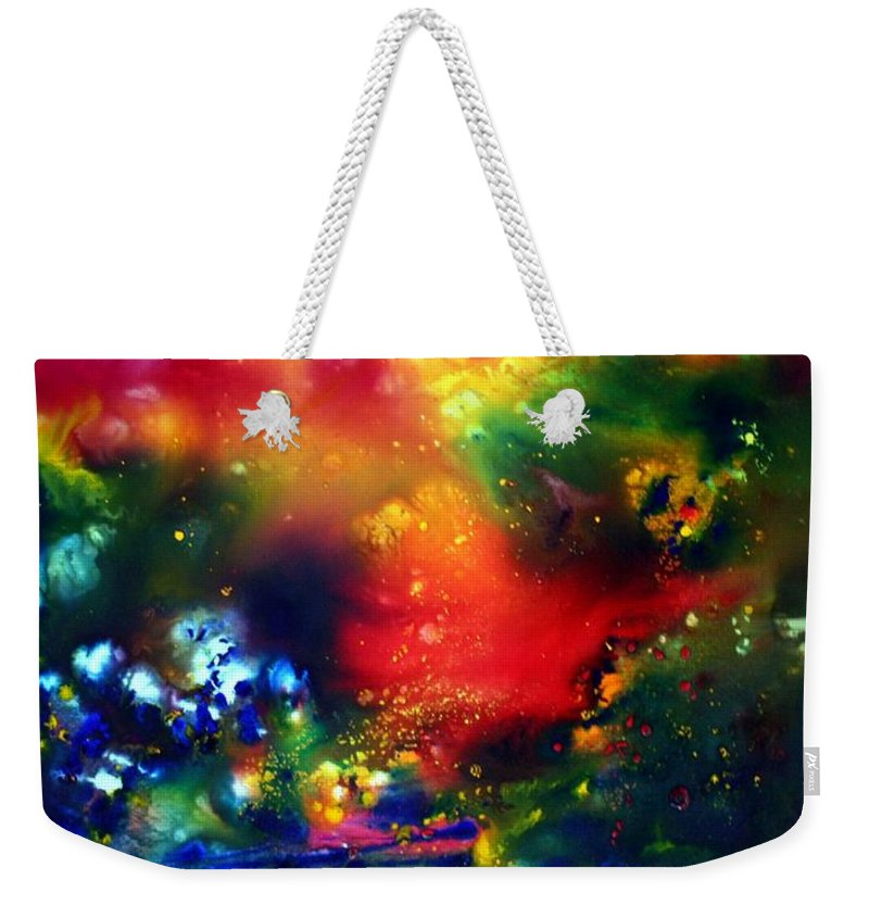 Abstract Weekender Tote Bag featuring the painting Aurora Borealis by Luiza Vizoli