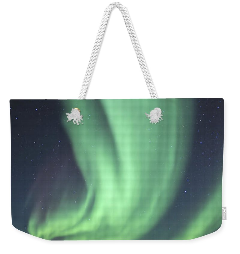Yellowknife Weekender Tote Bag featuring the photograph Aurora Borealis Over Prosperous Lake by Jiri Hermann