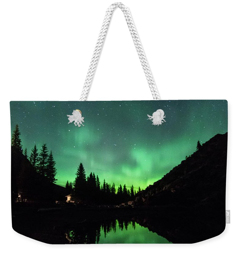Moraine Weekender Tote Bag featuring the photograph Aurora On Moraine Lake by Alex Lapidus