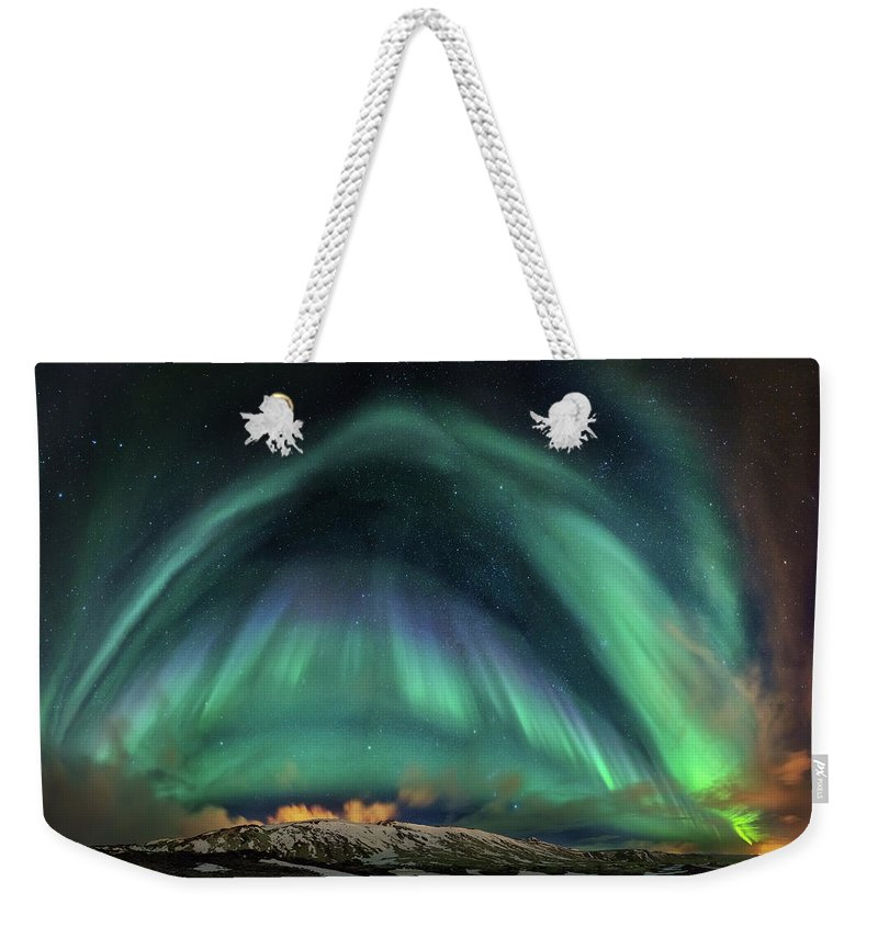 Northern Lights.aurora Borealis Weekender Tote Bag featuring the photograph Aurora Umbrella by Bragi Kort