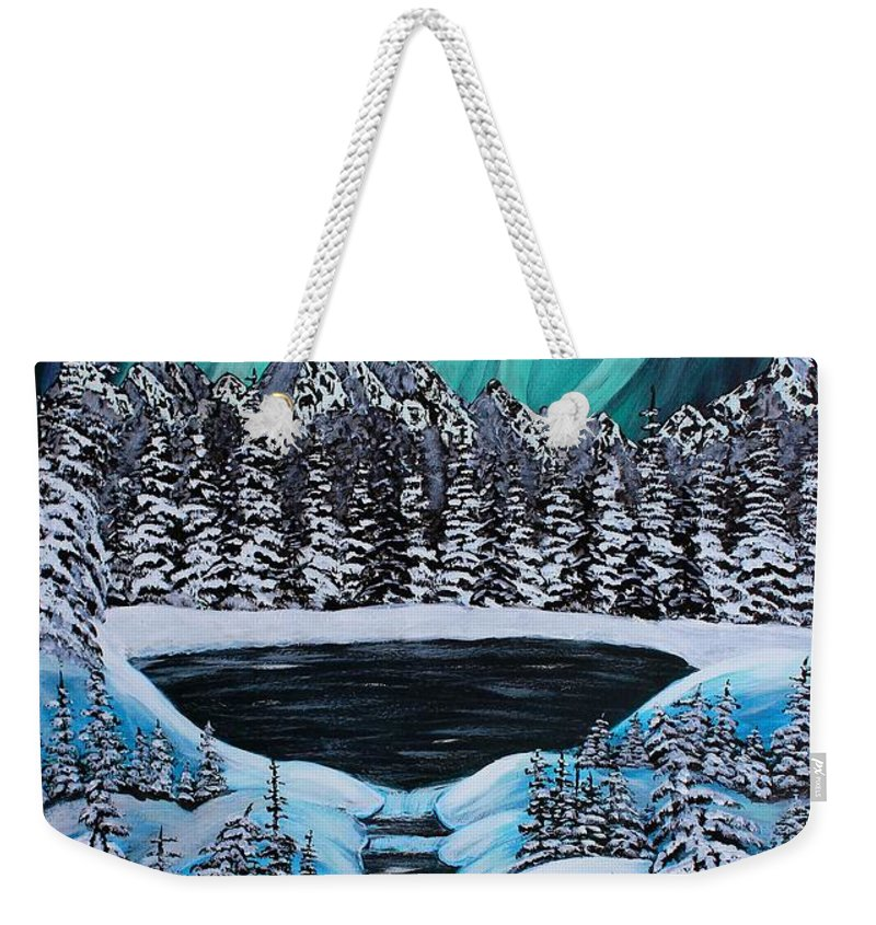 Barbara Griffin Weekender Tote Bag featuring the painting Aurora's Fiery Display by Barbara Griffin