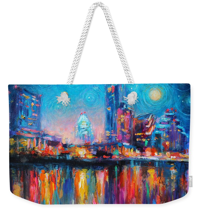Austin Art Weekender Tote Bag featuring the painting Austin Art Impressionistic Skyline Painting #2 by Svetlana Novikova