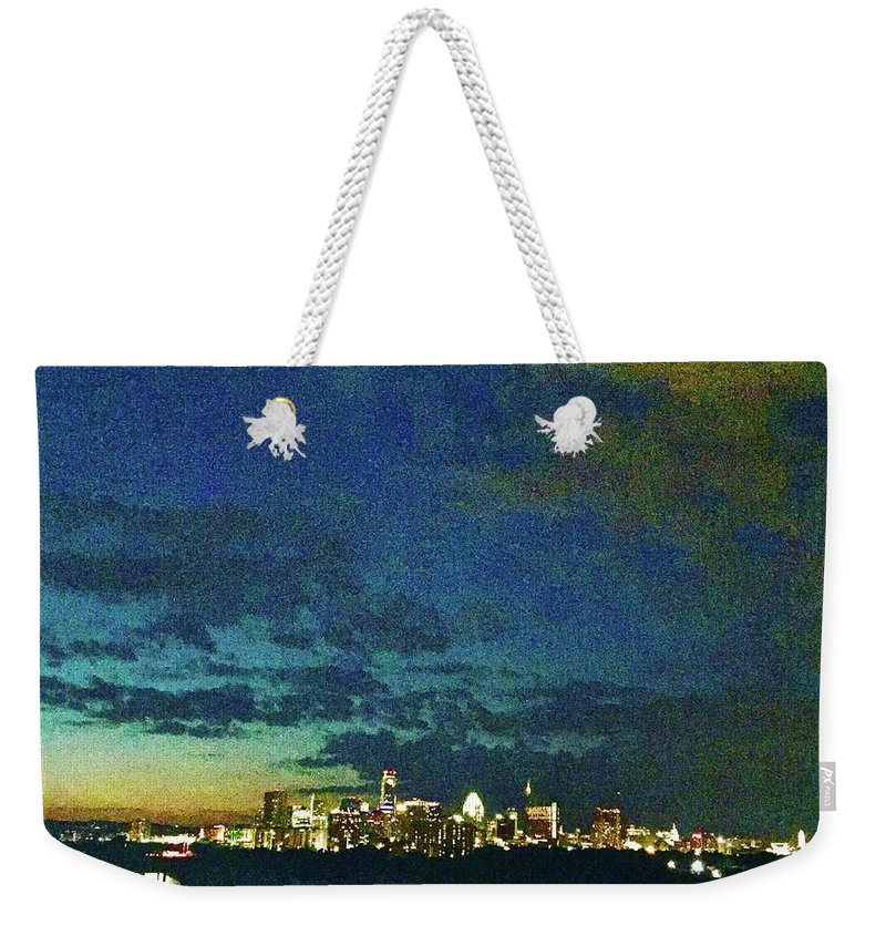 Austin Weekender Tote Bag featuring the photograph Austin At Dusk by Cherylene Henderson