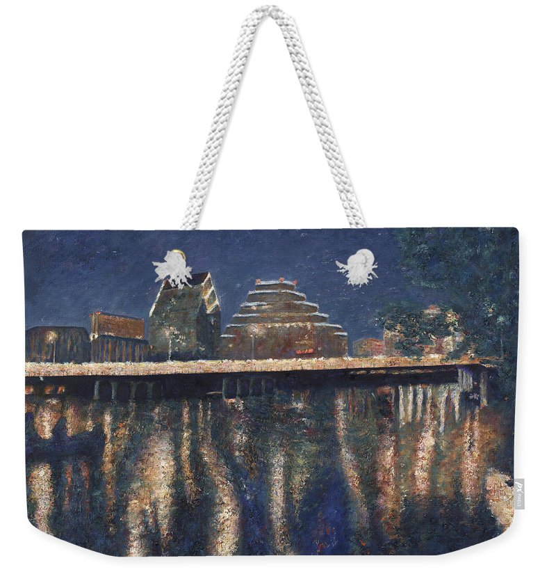 Austin Texas Cityscape Weekender Tote Bag featuring the painting Austin At Night by Felipe Adan Lerma