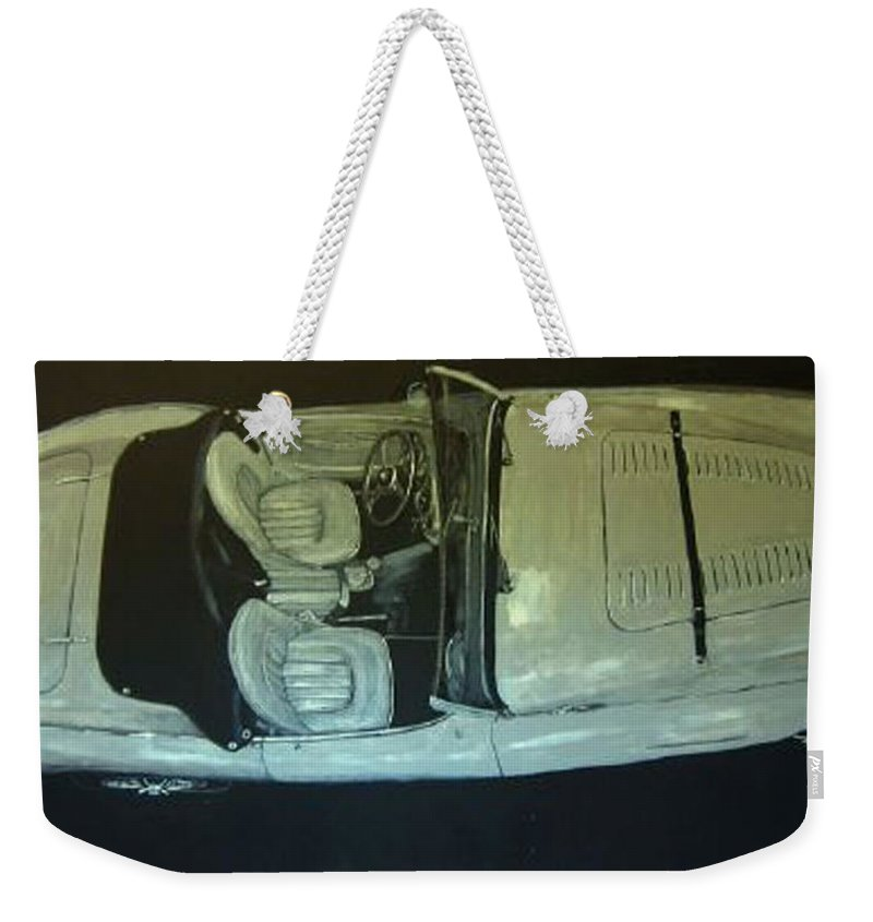 Car Weekender Tote Bag featuring the painting Austin Healy Lm by Richard Le Page