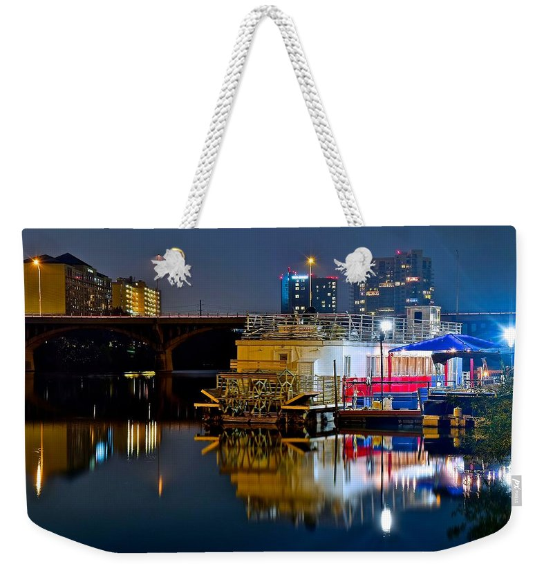 Austin Weekender Tote Bag featuring the photograph Austin River Boat by Frozen in Time Fine Art Photography